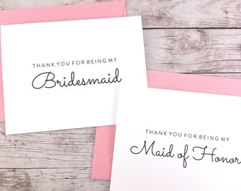 SET OF Thank You For Being My Bridesmaid Cards, Maid of Honor Cards, Flower Girl Cards, Matron of Honor Cards - (FPS0016)