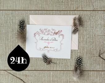 Love birds wedding invitation template/printable wedding invitation/ Postcard invitation/ Vintage invitations