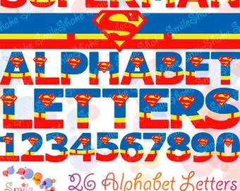 Superman Alphabet Letters & Numbers Clip Art Graphics Digital PNG Clipart Boys Party Decorations Superman Superhero Font Justice League