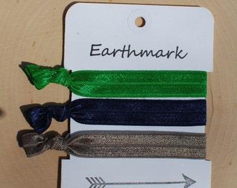 Hair ties 3-pack | Elastic Hairties | FOE Hairbands | No Crease Ponytail Holder | Industrial |Tribal | Chevron | Elastic Bracelets