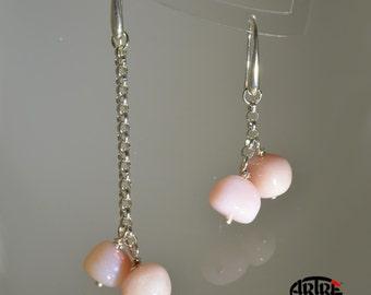 Asymmetrical earrings in Sterling Silver Pink Opal