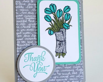 Handmade thank you bright blue and gray tulip card, happy birthday, get well soon, sympathy card, any occasion, thank you