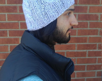 Gray Cable Knit Winter Hat With Pompom