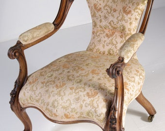 B341 Antique Scottish 19th Cent. Victorian Solid Rosewood Chair, Cabriolet Legs