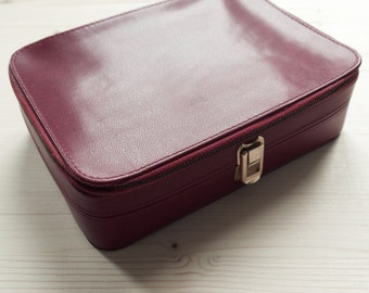Burgundy leather pouch