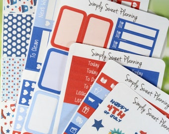 Fourth of July Planner Sticker Kit - Planner Stickers - Happy Planner - Erin Condren - Fourth of July - Functional Stickers - Weekly Planner
