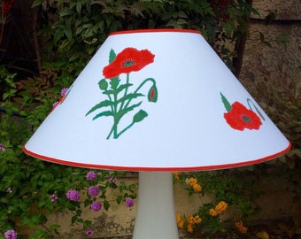 White shade with Poppies painted