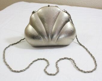 Vintage Silver Shell Saks Fifth Avenue Evening Bag