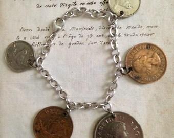 Vintage British South Africa 5 coin bracelet 1950s