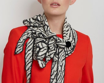 Zenna! Zebra Jersey Knit Scarf, Lightweight, Animal Print, Cream and Black
