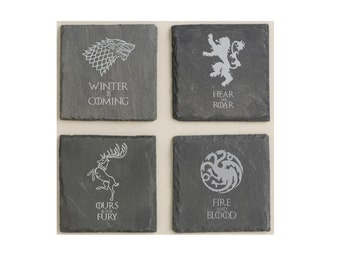 Game of Thrones Slate Coaster Set - 4 Major Houses