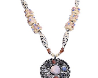 Pink Pitch Ethnic Semi-Precious Beaded Necklace ACN1
