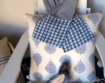 Grey Marle Block Print Cotton & Jersey Scarf