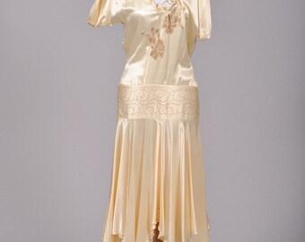 1920 Drop Waist Silk Vintage Wedding Dress