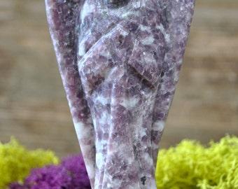 Large Lilac Lepidolite Hand Carved Angel Sculpture - 1031.61