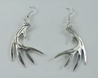 J Pool Wildlife Collection Handmade Sterling Silver Whitetail Deer Antler Earrings