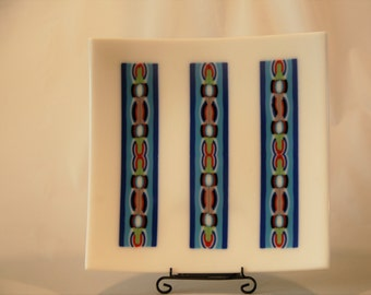 Blue Totem Pole Curved Plate