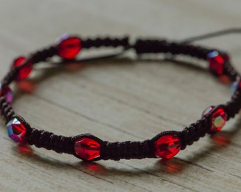 Adjustable Expresso Brown and Ruby Red Bracelet