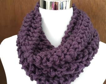 Purple Knitted Infinity Cowl Scarf