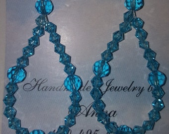 Blue Swarovski Crystal Hoop Earrings