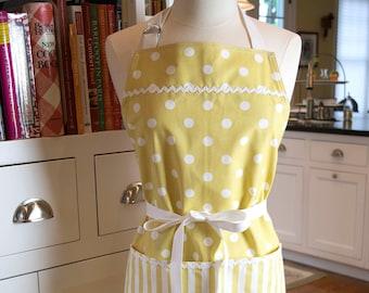 Yellow Polka Dot Apron   USA Made Apron