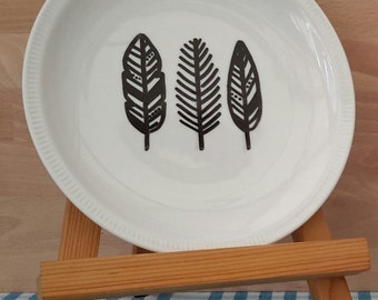 hand drawn breakfast plate with feather illustration