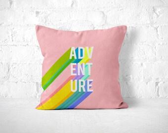 Adventure Pillow, Pink Throw Pillow, Kids Room Decor, Kids Throw Pillow, Cute Throw Pillow, Adventure Home Decor, Dorm Room Pillow, Quote
