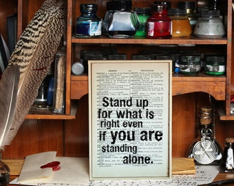 """Motivational Quote. """"Stand Up for What is Right, Even if You're Standing Alone"""" Vintage Dictionary Book Page Print. Superhero Quote"""