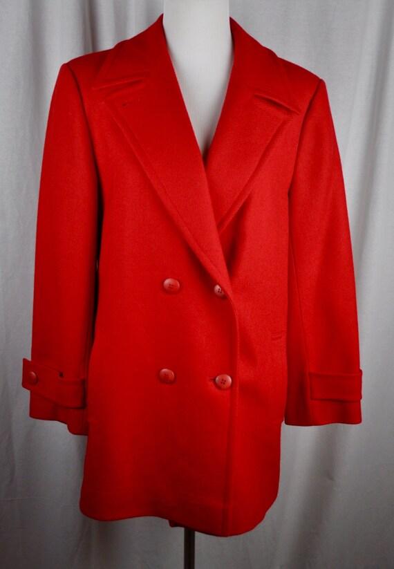 Women's Wool Red Pendleton Stroller Length Coat Sz 8.