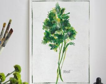 Kitchen Herb Print - Mint