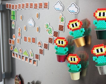 Super Mario Bros inspired Fire Flower Hama Beads magnet