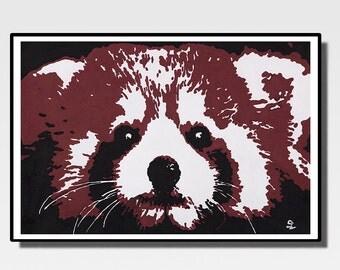 Red Panda - Print acrylic painting 60x40 cm - Animals