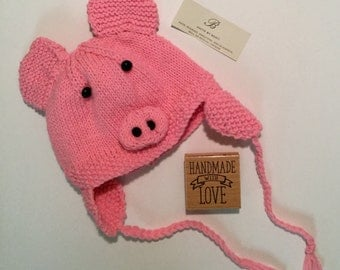 Baby knitted hat - Piggy