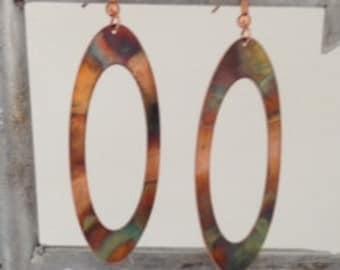 Large handmade Copper Flame Patina Earrings