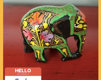 Hand-Painted Indian Elephant Figurine