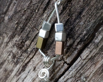 Dangly Pyrite Silver Wire Wrapped Pendant Necklace, Minimalist Mother Earth Boho Jewelry, Unique Design One of a Kind Woman's Gift, Prom
