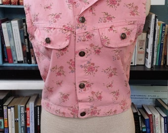 Western Cropped Vest, Rose Print, Made in USA