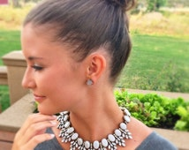 Crystal statement necklace, crystal necklaces,gray statement necklace,gray necklace,elegant necklace, necklace,jewelry,