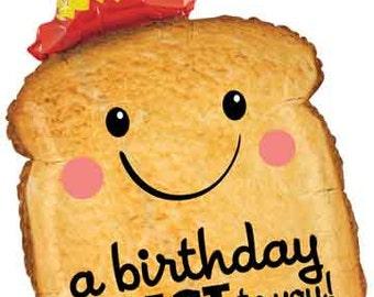 """Birthday Toast Balloon-32"""" Mylar Balloon- Birthday Balloon"""