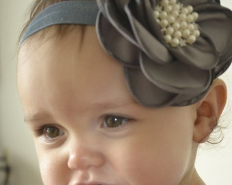 Grey Headband/Baby Headband/Baby Girl Headband/Newborn Headband/Baby Shower Gift Girls Headband/Girl Headband Baby/Baby Headbands and Bows