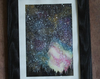 "Watercolor Painting ""Night Sky""  - Galaxy, Stars, Starry Night, Watercolor Sky"