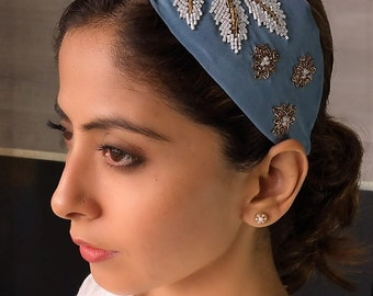 Free Shipping-CLAIRE TURBAN Grey HAIRBAND for Women,Crafted in India with Love