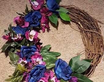 Blue Dew Roses, Purple Pansies,Grapevine Wreath