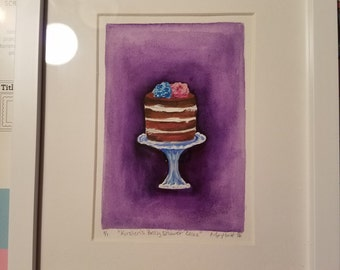Original-Watercolor-Baby Shower Cake Keepsake