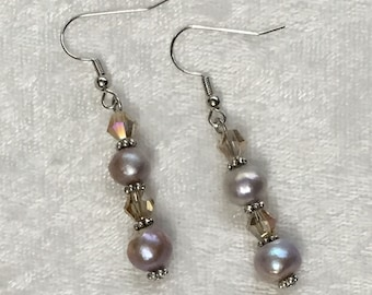 Champagne Cream-Colored Freshwater Pearl Earrings w/ Faceted AB Glass Crystal Bicone Beads - Wedding, Bride, or Bridesmaid