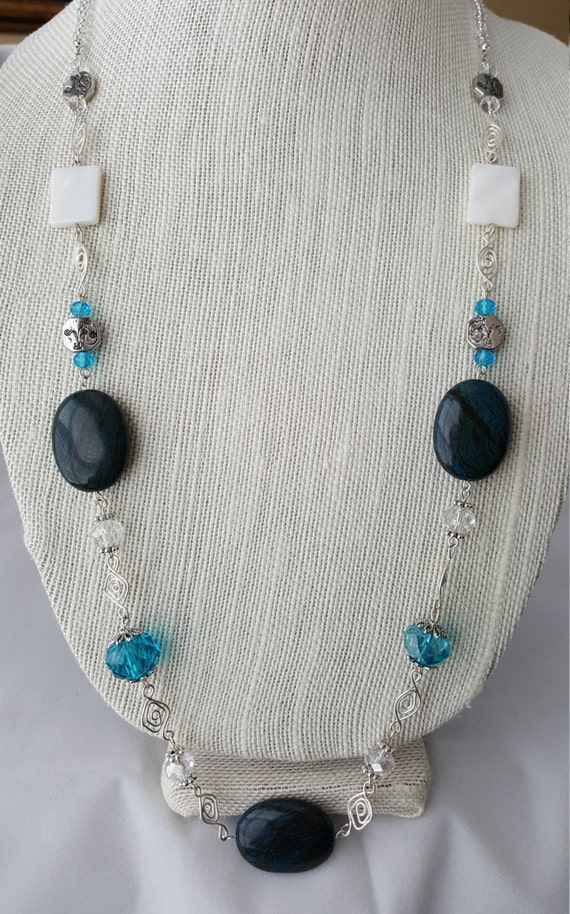 Fancy long aqua and silver besded necklace
