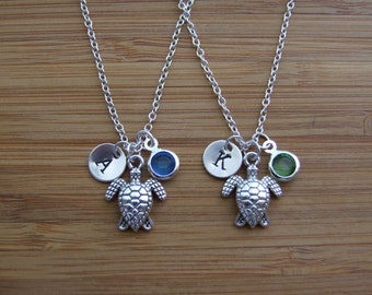 Sea Turtle Necklaces, Set of TWO Personalized Friendship Necklaces, Birthstone Necklaces, Birthday Gift, Bridesmaid Gifts
