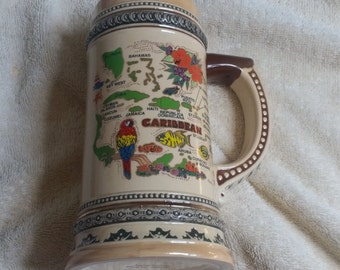 Caribbean Pirate Stein 10 inches Tall With Map