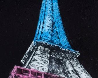 Eiffel Tower 36X24 canvas Gel transfer & Acrylic