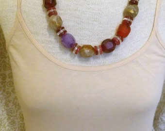 Colorful vintage bead necklace